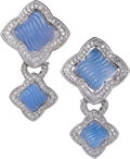 Estate Jewelry:Earrings, Chalcedony, Diamond, White Gold Earrings, David Yurman. ...