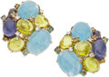 Estate Jewelry:Earrings, Multi-Stone, Diamond, Gold Earrings . ...