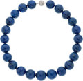 Estate Jewelry:Necklaces, Lapis Lazuli, Diamond, White Gold Necklace. ...