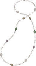 Estate Jewelry:Necklaces, Sapphire, Tsavorite Garnet, White Gold Necklace. ...