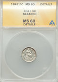 1847 H10C -- Cleaned -- ANACS. MS60 Details. CDN: $150 Whsle. Bid for problem-free NGC/PCGS MS60. Mintage 1,274,000