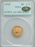 1929 $2 1/2 MS61 PCGS. Gold CAC. PCGS Population: (1806/11512). NGC Census: (2777/17413). MS61. Mintage 532,000. ...(PCG...