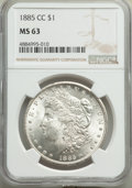 Morgan Dollars, 1885-CC $1 MS63 NGC. NGC Census: (3163/6320). PCGS Population: (6023/14232). CDN: $575 Whsle. Bid for problem-free NGC/PCGS...