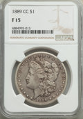 1889-CC $1 Fine 15 NGC. NGC Census: (332/3178). PCGS Population: (728/5551). CDN: $700 Whsle. Bid for problem-free NGC/P...
