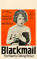 """Movie Posters:Hitchcock, Blackmail (Sono Art-World Wide Pictures, 1929). Good- on Cardstock. Window Card (14"""" X 22"""").. ..."""