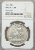 Trade Dollars, 1874 T$1 -- Cleaned -- NGC Details. Unc. NGC Census: (3/83). PCGS Population: (8/103). CDN: $950 Whsle. Bid for problem-fre...