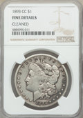 1893-CC $1 -- Cleaned -- NGC Details. Fine. NGC Census: (211/3383). PCGS Population: (402/6749). CDN: $280 Whsle. Bid fo...