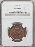 Large Cents, 1850 1C MS64 Red and Brown NGC. NGC Census: (92/109). PCGS Population: (178/128). CDN: $550 Whsle. Bid for problem-free NGC...
