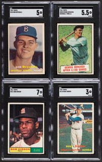 1957-61 Topps Baseball Greats SGC Graded Quartet (4) - Drysdale, Gehrig, Gibson and Snider