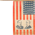 Political:Textile Display (pre-1896), Cleveland & Hendricks: Large, Outstanding, Jugate Campaign Flag.. ...