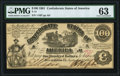 Confederate Notes:1861 Issues, T13 $100 1861 PF-4 Cr. 56 PMG Choice Uncirculated 63.. ...
