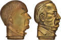 Political:3D & Other Display (pre-1896), Grover Cleveland & William McKinley: Pair of Figural Match Safes. . ... (Total: 2 Items)
