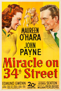 "Miracle on 34th Street (20th Century Fox, 1947). Fine/Very Fine on Linen. One Sheet (27"" X 41"")"