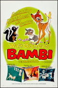 """Movie Posters:Animation, Bambi (Buena Vista, R-1966). Folded, Very Fine-. One Sheet (27"""" X 41"""") Style B. Animation.. ..."""