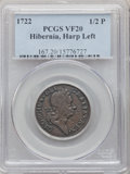 Colonials, 1722 1/2 P Hibernia Halfpenny, Type One, Harp Left VF20 PCGS. PCGS Population: (2/89). NGC Census: (2/33). . From The ...