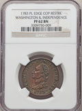 Colonials, 1783 RES COPPER Washington & Independence Cent, Draped Bust, No Button, Copper Restrike, Plain Edge PR62 Brown NGC. NGC Cen...