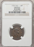 Colonials, 1723 FARTH Hibernia Farthing, D:G:REX XF45 NGC. NGC Census: (2/8). PCGS Population: (0/48). . From The Poulos Family C...