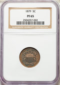 Proof Shield Nickels, 1879 5C PR65 NGC. NGC Census: (164/142). PCGS Population: (177/99). PR65. Mintage 3,200. . From The Poulos Family Colle...