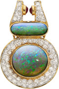 Estate Jewelry:Pendants and Lockets, Opal, Diamond, Gold Pendant-Enhancer  The enha...