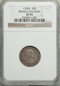 Colonials, 1720-A 20 Sols French Colonies XF45 NGC. NGC Census: (0/1). PCGS Population: (4/14).. From The Poulos Family Collection...