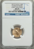 Modern Bullion Coins, 2015 $5 Tenth-Ounce Gold Eagle, Narrow Reeds, Early Releases, MS69 NGC. PCGS Population: (32/301). MS69....