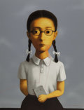 Prints:Contemporary, Zhang Xiaogang (b. 1958). Girl, from Bloodline: Big Family, 2006. Lithograph in colors on Arches paper. 53-7/8 x 40-...