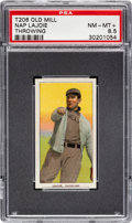 Baseball Cards:Singles (Pre-1930), 1909-11 T206 Old Mill Napoleon Lajoie (Throwing) PSA NM-MT+ 8.5 - Pop One, None Higher for Brand! ...
