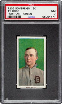 1909-11 T206 Sovereign 150 Ty Cobb (Green Portrait) PSA NM 7 - Pop One, None Higher for Brand!