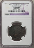 Colonials, '1774' 1/2 P Machin's Mills Halfpenny -- Corrosion -- NGC Details. VF. NGC Census: (1/5). PCGS Population: (0/4). . Fr...