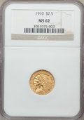 Indian Quarter Eagles, 1910 $2 1/2 MS62 NGC. NGC Census: (3066/2424). PCGS Population: (1292/1494). MS62. Mintage 492,000. . From The Poulos F...