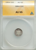 1864 3CS AU55 ANACS. CDN: $750 Whsle. Bid for problem-free NGC/PCGS AU55. Mintage 12,000. From The Poulos Family Coll...