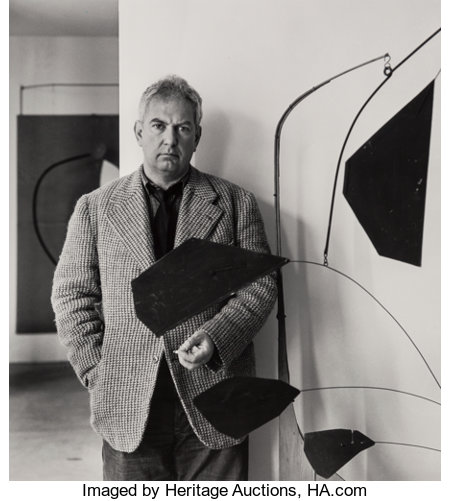 Arnold Newman (American, 1918-2006)Three Portraits of Alexander Calder (3 works), 1943; 1957Gelatin silver, one prin... (Total: 3 )