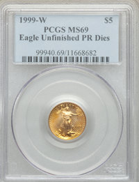 1999-W $5 Tenth-Ounce Gold Eagle, Unfinished Proof Dies, MS69 PCGS. PCGS Population: (1892/52). NGC Census: (2469/353)...