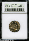 Buffalo Nickels: , 1935-S 5C MS65 ANACS....