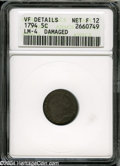 Early Half Dimes: , 1794 H10C--Damaged--ANACS. VF Details, Net Fine 12....