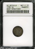 Early Half Dimes: , 1795 H10C--Bent, Scratched--ANACS. VF Details, Net Fine 12....