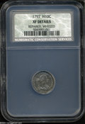 Early Half Dimes: , 1797 H10C 16 Stars XF Details, Repaired, Whizzed, NCS....