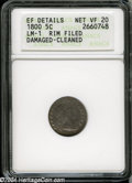 Early Half Dimes: , 1800 H10C--Rim Filed, Damaged, Cleaned--ANACS. XF Details, NetVF20....