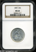 Seated Quarters: , 1890 25C MS64 NGC....