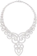 Estate Jewelry:Necklaces, Diamond, White Gold Necklace, J.P. Bellin . ...