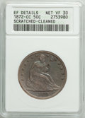 Seated Half Dollars: , 1872-CC 50C -- Cleaned, Scratched -- ANACS. XF Details, Net VF30. CDN: $1,200 Whsle. Bid for problem-free NGC/PCGS VF30. Mi...