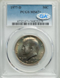 Kennedy Half Dollars, 1977-D 50C MS67+ PCGS. PCGS Population: (47/1 and 2/0+). NGC Census: (16/0 and 0/0+). MS67. Mintage 31,449,106. ...