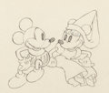 Animation Art:Production Drawing, Ye Olden Days Mickey and Minnie Mouse Drawing (Walt Disney, 1933).. ...