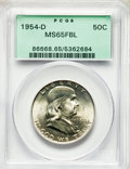 Franklin Half Dollars, (2)1954-D 50C MS65 Full Bell Lines PCGS. PCGS Population: (2289/195). NGC Census: (778/33). CDN: $75 Whsle. Bid for problem... (Total: 2 coins)