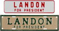 Political:3D & Other Display (1896-present), Alf Landon: Pair license Plate Attachments.. ...