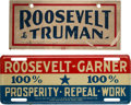 Political:3D & Other Display (1896-present), Franklin D. Roosevelt: Pair of 1932 and 1944 License Plate Attachments.. ... (Total: 2 Items)