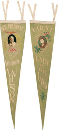 Political:Textile Display (1896-present), Woodrow & Edith Wilson: Rare Pair Of Pennants.. ... (Total: 2 Items)