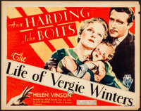 """The Life of Vergie Winters (RKO, 1933). Fine/Very Fine. Title Lobby Card (11"""" X 14""""). Melodrama"""