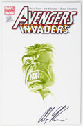 Original Comic Art:Sketches, Alex Ross Avengers/Invaders #1 Painted Blank DF Authentix Cover Variant Original Art (Marvel, 2008) Condition: NM-...