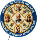 """Political:Pinback Buttons (1896-present), William Jennings Bryan: 2 1/8"""" Largest Size """"Down with the Trusts"""" Button. . ..."""